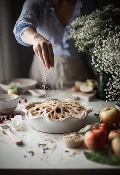 Spiced Cranberry Apple Pie + Oat Crust & Orange Custard Sauce - The Kitchen McCabe Apple Cranberry Pie, Apple Pie, Food Photography Styling, Food Styling, Cooking Photography, Cake Photography, Dessert Recipes, Desserts, Stick Of Butter