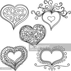 Vector Art : Ornate hearts in sketch style