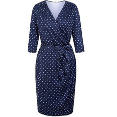Uttam Boutique Daisy Print Long Sleeve Wrap Dress ($65) ❤ liked on Polyvore featuring dresses, clearance, navy, daisy-print dress, long sleeve v neck dress, v neck dress, navy wrap dress and blue dress