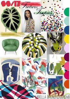 """© Mirella Bruno Print Designs SS/17. Print/Colour and Direction inspirations/ predictions for personal upcoming projects. """"Future Tropics."""" http://cargocollective.com/mirella-bruno-print-designs/Inspiration-InformationIm not sure if it grieves me or pleases me when a trend story I've been incubating for months actually happens….more on that note in a bit….."""