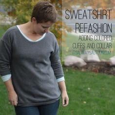 it's always autumn - itsalwaysautumn - sweatshirt refashion {add colored cuffs and prettify theneckline}