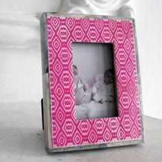 Pink Ikat bone photo frame, Graham & Green, £14