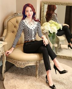 Moda trajes de pantalones mujeres trajes de negocios formales de oficina trabajan 2 unidades pantalón y superior establece rayas blusas y camisas estilo OL(China (Mainland))