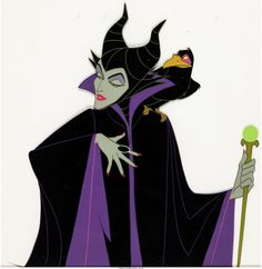 Sleeping Beauty Maleficent and Diablo Production Cel (Walt Disney, 1959). An exceptional hand-inked, hand-painted 16 field production cel of Maleficent, with her pet raven, Diablo.