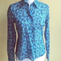 Kors Michael Kors button down 100% cotton patterned blouse KORS Michael Kors Tops Button Down Shirts