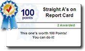 Online achievement certificate for a student using TokenRewards.com administrative recognition and rewards platform.