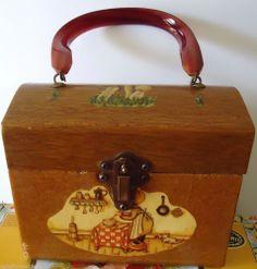 Vintage Feveri Original Decoupage Wood Purse with Swirled Carmel Lucite Handle #FeveriOriginal #WoodBox