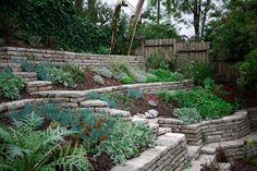 Broken Concrete Terraces Recycled Concrete, Broken Concrete, Concrete Garden, Concrete Walls, Landscaping Retaining Walls, Backyard Landscaping, Backyard Ideas, Hillside Garden, Terrace Garden