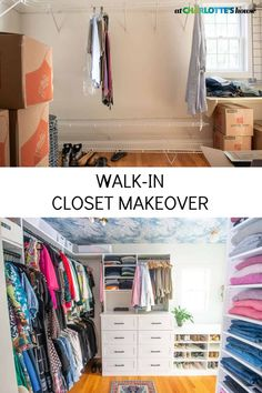 We took out all the shelves in our walk in closet, patched the walls and added functional shelves and drawers. Fun wallpaper on the ceiling and simple styling has turned this space into a functional storage oasis! #closetmakeover #closetstorage #closetdesign #closet Organizing Ideas, Home Organization, Easy Diy Projects, Home Projects, Black Hangers, Wallpaper Ceiling, Pinterest Home, Build A Closet, Funky Junk