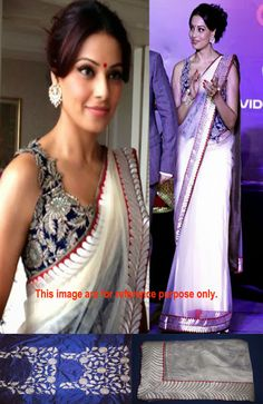 Saree - Shop for Ladies designer Sarees Online. Buy casual, formal & partywear Saris in various fabrics, patterns & colours from Craftsvilla at best prices. Bollywood Sarees Online, Antique Jewellery Online, Net Saree, Indian Sarees, Indian Outfits, Off White, Sari, Bridal, Beautiful