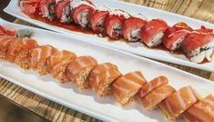 Types of Sushi Rolls: Description with Photos: Crazy Boy Roll, photo Alaskan Rolls, Dragon Sushi, Kappa Maki. Pesto Shrimp, Shrimp Tempura, Salmon Roll, Baked Salmon, Rainbow Roll Sushi, Types Of Sushi Rolls, Dragon Sushi, Different Types Of Sushi, Crispy Seaweed