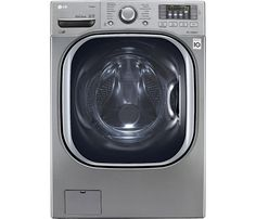 LG - 4.5 Cu. Ft. 14-Cycle High-Efficiency Steam Front-Loading Washer - Graphite Steel - Front Zoom