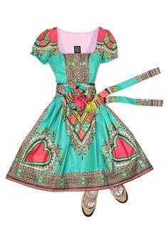 Noh Nee Dirndl dress with turquoise African print