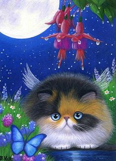Calico kitten cat fairy butterfly moon flowers limited edition aceo print art by Bridget Voth Gato Calico, Calico Cats, Creation Photo, Gatos Cats, Art Et Illustration, Cat Illustrations, Butterfly Painting, Cat Paws, Cat Drawing