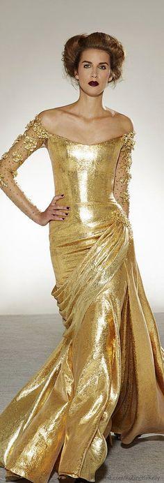 Golden dress with golden hair.