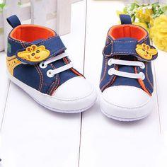 Barato Sapatos de bebê Da Lona Girafa Anti slip Infantil Macia Sole Baby First…