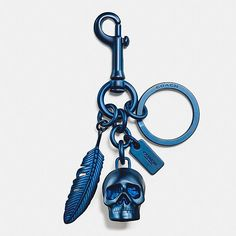 SKULL AND FEATHER KEY RING