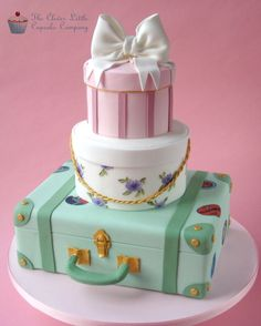 Hand painted  Old Fashion suitcase with stacked hatboxes ~all cake! ~ and edible