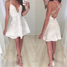 ✨ Beige Lace Dress ✨ Beautiful beige lace dress • Delicate & sexy • Available in Small | Medium | Large • 100% Cotton  Tea n Cup Dresses Mini
