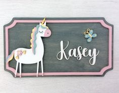 Your place to buy and sell all things handmade Wooden Name Plaques, Wood Name Sign, Wooden Names, Wooden Wall Art, Name Signs, Nursery Decor, Wall Art Decor, Gravure Laser, Unicorns And Mermaids