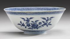 A MING-STYLE BLUE AND WHITE BOWL  QIANLONG SEAL MARK AND PERIOD