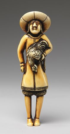 Netsuke: Foreigner carrying a cock, 19th century Japanese ~ Ivory ~ Portuguese, Spanish, and Dutch traders arrived in Japanese ports from the mid-sixteenth century, but only the Dutch were officially allowed to remain in Japan after the national exclusion policy was enacted in 1638. Netsuke figures of foreigners often depict them wearing unusual clothing such as pantaloons and ruffled shirts, donning elaborate hats, and carrying exotic animals.