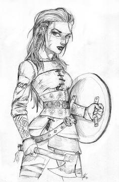 Female Viking Warrior by Dinoforce.deviantart.com on @deviantART Viking Cosplay, Viking Costume, Viking Drawings, Easy Drawings, Warrior Tattoos, Viking Tattoos, Viking Warrior Woman, Female Viking, Valkyrie Tattoo