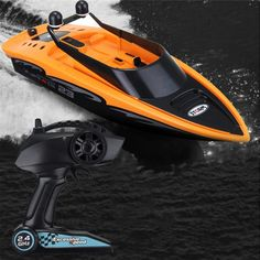 High-speed 4 Channel Rechargeable Remote Wireless RC Racing Boat For Lakes Pool With Propellers Full Functions Outdoor Kids Toy Radio Remote Drone Remote, 4 Channel, Speed Boats, Radio Control, High Speed, Racing, Orange, Free Shipping, Electronics Gadgets