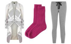 Left to right: Wool-blend cardigan, £470, Vince (Harvey Nichols); Cashmere bed socks, £39, Toast; Cashmere sweatpants, £350, Chinti & Parker (Net-a-Porter)