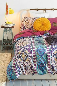 I love this boho duvet. The colors are beautiful! While I usually keep my room a lot more minimalistic, this could be a fun change!