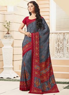 We provide authentic and branded ethnic wear products like designer sarees. Grab this nice print work printed saree for casual.