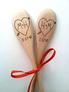 Personalized wood burned spoon initials by AlyssaSurabian on Etsy