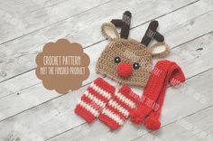 CROCHET PATTERN - Baby reindeer hat, newborn reindeer hat, reindeer set, christmas set pattern, reindeer hat scarf leg warmers, baby boy hat