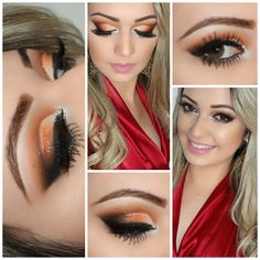 """NotYourPumpkinPie!"" - #beautifulhalloweenmakeup. a gorgeous orange on eyelid with a black eyeshadow in ""v"" area. a dusty orange above crease area with a brown crease color. with a shimmer white in eyeduct area."