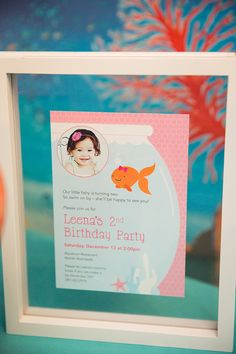Pink Goldfish Party: Leena is Goldfish Party, 2nd Birthday Parties, Birthday Ideas, Sea And Ocean, Party Invitations, Party Themes, Backdrops, Frame, Pink