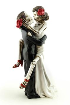 <p> This fun and sexy gothic skeleton cake topper will make a statement on your wedding cake that no one will forget!. Perfect for any fantasy or gothic themed wedding- especially couples who celebrate the Dia de los Muertos!</p> <p> Please note: The hair color or colors you have requested may not be an exact match to your natural hair color and also%...