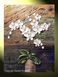 "Contemporary Art Abstract Painting White Orchids, ""Modern Grace"" Original, Flowers, Floral Paintings, Modern, Textured, Palette Knife, Sculpted Fine #Art, Home Wall Decor by Internationally Collected Artist Christine Krainock"