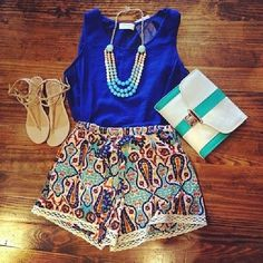 Summer Inspiration 2018 Cute Summer Dresses, Boho Summer Outfits, Stylish Summer Tops and Shorts Picture Description Bluetique Cheap Chic Cute Fashion, Look Fashion, Teen Fashion, Fashion Outfits, Womens Fashion, Fashion Shorts, Colorful Fashion, Cute Summer Outfits, Spring Outfits