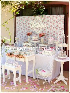Shabby chic birthday party table! See more party planning ideas at CatchMyParty.com!