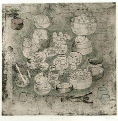 """Tomoyo Ihaya  """"Old Pots II"""", (1/1), 2011,  Collage on Etching,  8 x 8 inches"""