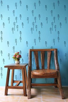 StenCilit - Pines and Tribes Scandinavian wall stencil #diy #homedesign #wall #decor #walldecoration #sisusta #sisustusidea #seinä #tapetointi