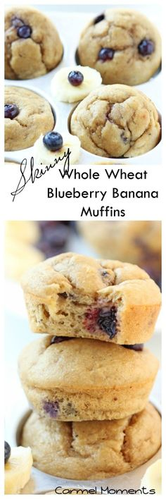Skinny Whole Wheat Blueberry Banana Muffins | carmelmoments.com