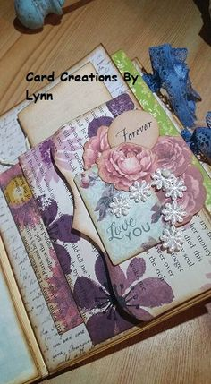 Vintage junk journal page - Hand made and hand stamped envelopes