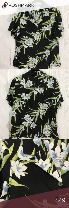 TOMMY BAHAMA TROPICAL 🌴 FLORAL BUTTON CAMP SHIRT Tommy Bahama Black Tropical Floral Button Shirt 72% Silk 28% Linen Size M Tommy Bahama Tops Blouses
