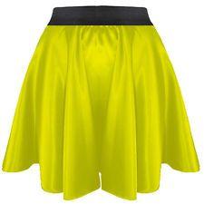 Black   Women Lady Satin Pleated Retro Waist Shiny Mini Skirt S~3XL   27 Color