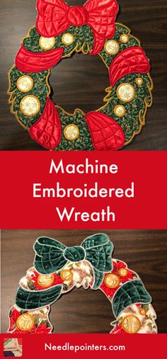 These machine embroidered wreaths are a project Chris made with her embroidery machine. The pattern is from Kreative Kiwi. Machine Embroidery Projects, Machine Embroidery Applique, Free Machine Embroidery Designs, Christmas Gifts For Kids, Christmas Wreaths, Christmas Ideas, Christmas Crafts, Fabric Crafts, Sewing Crafts