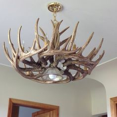 How to make antler lamps how to make deer antler chandelier for cabin life this is a must aloadofball Images