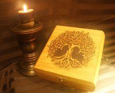 Tree of Life hand-burned storage display box