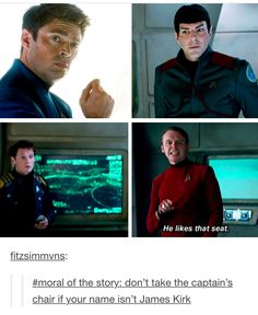 Everyone's reaction is gold :)))<<< hahahaha! I want to sit in the captains chair just to see their reactions! I also want to sit in Chris Pine's chair backstage (sorry I'm a theatre kid. I don't know what else to call it) just to see what happens! Stephen Hawking, Star Trek Reboot, Star Trek 2009, Star Trek Movies, Starship Enterprise, Karl Urban, Superwholock, Movies Showing, New Movies