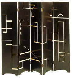 Eileen Gray - Six Panel Screen or Line Screen, a development of ideas borrowed from the De Stijl movement. Eileen Gray, Black Screen, 1920s.